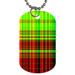 Line Light Neon Red Green Dog Tag (One Side)