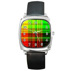Line Light Neon Red Green Square Metal Watch