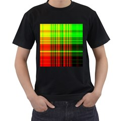 Line Light Neon Red Green Men s T-Shirt (Black) (Two Sided)