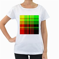 Line Light Neon Red Green Women s Loose-Fit T-Shirt (White)