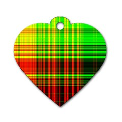 Line Light Neon Red Green Dog Tag Heart (One Side)