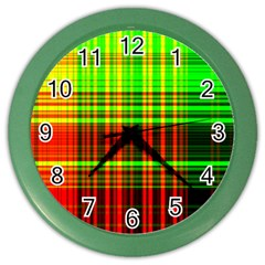 Line Light Neon Red Green Color Wall Clocks