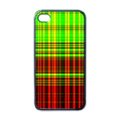 Line Light Neon Red Green Apple iPhone 4 Case (Black)
