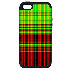 Line Light Neon Red Green Apple iPhone 5 Hardshell Case (PC+Silicone)