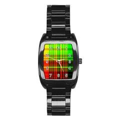 Line Light Neon Red Green Stainless Steel Barrel Watch