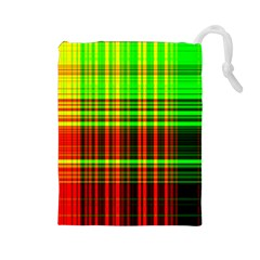 Line Light Neon Red Green Drawstring Pouches (Large)