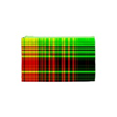 Line Light Neon Red Green Cosmetic Bag (xs)