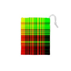 Line Light Neon Red Green Drawstring Pouches (XS)