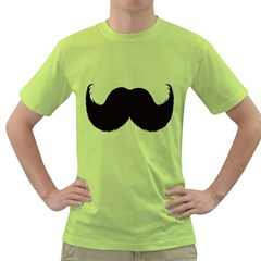 Mustache Owl Hair Black Man Green T-Shirt