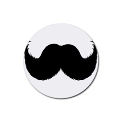 Mustache Owl Hair Black Man Rubber Round Coaster (4 pack)