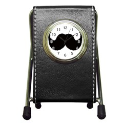 Mustache Owl Hair Black Man Pen Holder Desk Clocks