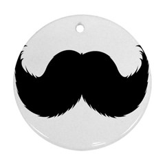 Mustache Owl Hair Black Man Round Ornament (Two Sides)