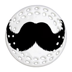 Mustache Owl Hair Black Man Round Filigree Ornament (Two Sides)