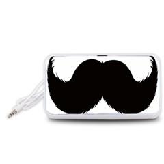 Mustache Owl Hair Black Man Portable Speaker (White)