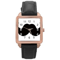 Mustache Owl Hair Black Man Rose Gold Leather Watch