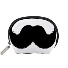 Mustache Owl Hair Black Man Accessory Pouches (Small)