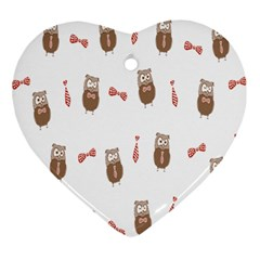 Insulated Owl Tie Bow Scattered Bird Ornament (Heart)
