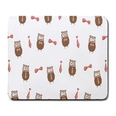 Insulated Owl Tie Bow Scattered Bird Large Mousepads