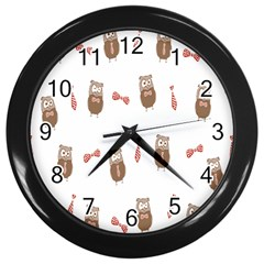 Insulated Owl Tie Bow Scattered Bird Wall Clocks (Black)