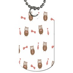 Insulated Owl Tie Bow Scattered Bird Dog Tag (Two Sides)