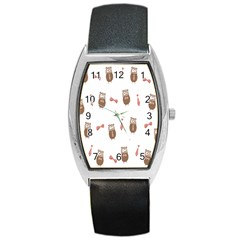Insulated Owl Tie Bow Scattered Bird Barrel Style Metal Watch