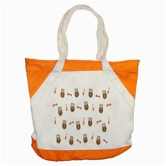 Insulated Owl Tie Bow Scattered Bird Accent Tote Bag