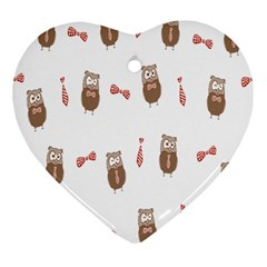 Insulated Owl Tie Bow Scattered Bird Heart Ornament (Two Sides)