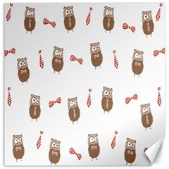 Insulated Owl Tie Bow Scattered Bird Canvas 12  x 12