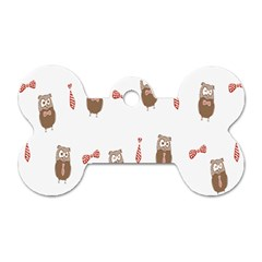 Insulated Owl Tie Bow Scattered Bird Dog Tag Bone (One Side)