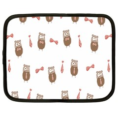 Insulated Owl Tie Bow Scattered Bird Netbook Case (Large)