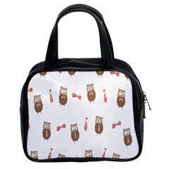 Insulated Owl Tie Bow Scattered Bird Classic Handbags (2 Sides)