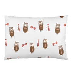 Insulated Owl Tie Bow Scattered Bird Pillow Case
