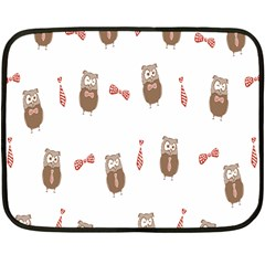 Insulated Owl Tie Bow Scattered Bird Double Sided Fleece Blanket (Mini)