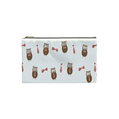 Insulated Owl Tie Bow Scattered Bird Cosmetic Bag (Small)