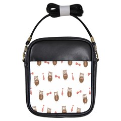 Insulated Owl Tie Bow Scattered Bird Girls Sling Bags