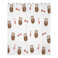 Insulated Owl Tie Bow Scattered Bird Shower Curtain 60  x 72  (Medium)