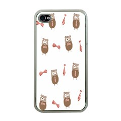 Insulated Owl Tie Bow Scattered Bird Apple iPhone 4 Case (Clear)