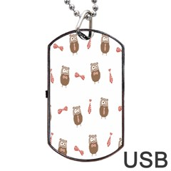 Insulated Owl Tie Bow Scattered Bird Dog Tag USB Flash (One Side)