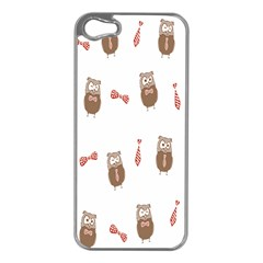 Insulated Owl Tie Bow Scattered Bird Apple iPhone 5 Case (Silver)