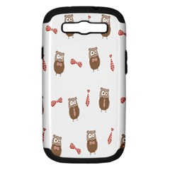 Insulated Owl Tie Bow Scattered Bird Samsung Galaxy S III Hardshell Case (PC+Silicone)