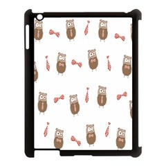 Insulated Owl Tie Bow Scattered Bird Apple Ipad 3/4 Case (black)