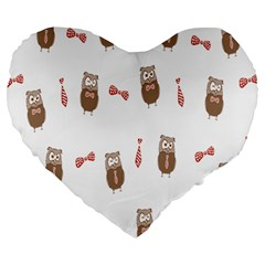 Insulated Owl Tie Bow Scattered Bird Large 19  Premium Heart Shape Cushions