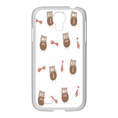 Insulated Owl Tie Bow Scattered Bird Samsung GALAXY S4 I9500/ I9505 Case (White)