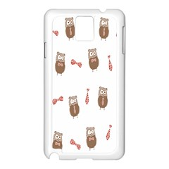 Insulated Owl Tie Bow Scattered Bird Samsung Galaxy Note 3 N9005 Case (White)