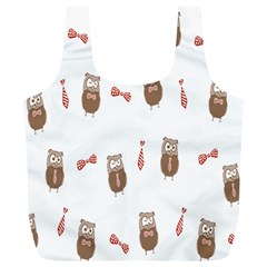 Insulated Owl Tie Bow Scattered Bird Full Print Recycle Bags (L)