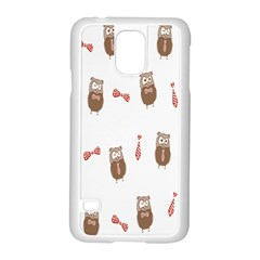 Insulated Owl Tie Bow Scattered Bird Samsung Galaxy S5 Case (White)