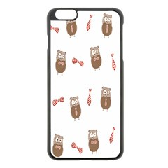 Insulated Owl Tie Bow Scattered Bird Apple iPhone 6 Plus/6S Plus Black Enamel Case