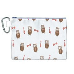 Insulated Owl Tie Bow Scattered Bird Canvas Cosmetic Bag (XL)