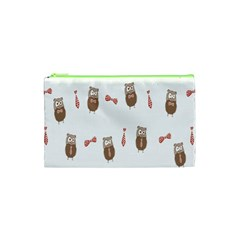 Insulated Owl Tie Bow Scattered Bird Cosmetic Bag (XS)
