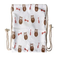 Insulated Owl Tie Bow Scattered Bird Drawstring Bag (Large)